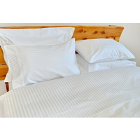 1000TC Cotton Fitted Sheet Set White Stripe