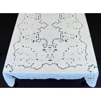 "Extra Large Vintage Linen Banquet Tablecloth and 18 Napkins, 162"" Long White"