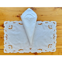 12 Placemats, 12 Napkins, 1 Runner, Superb Table Linen Set, White Cotton, Hand embroidered